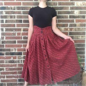 80s high waist rust colored mud cloth print skirt